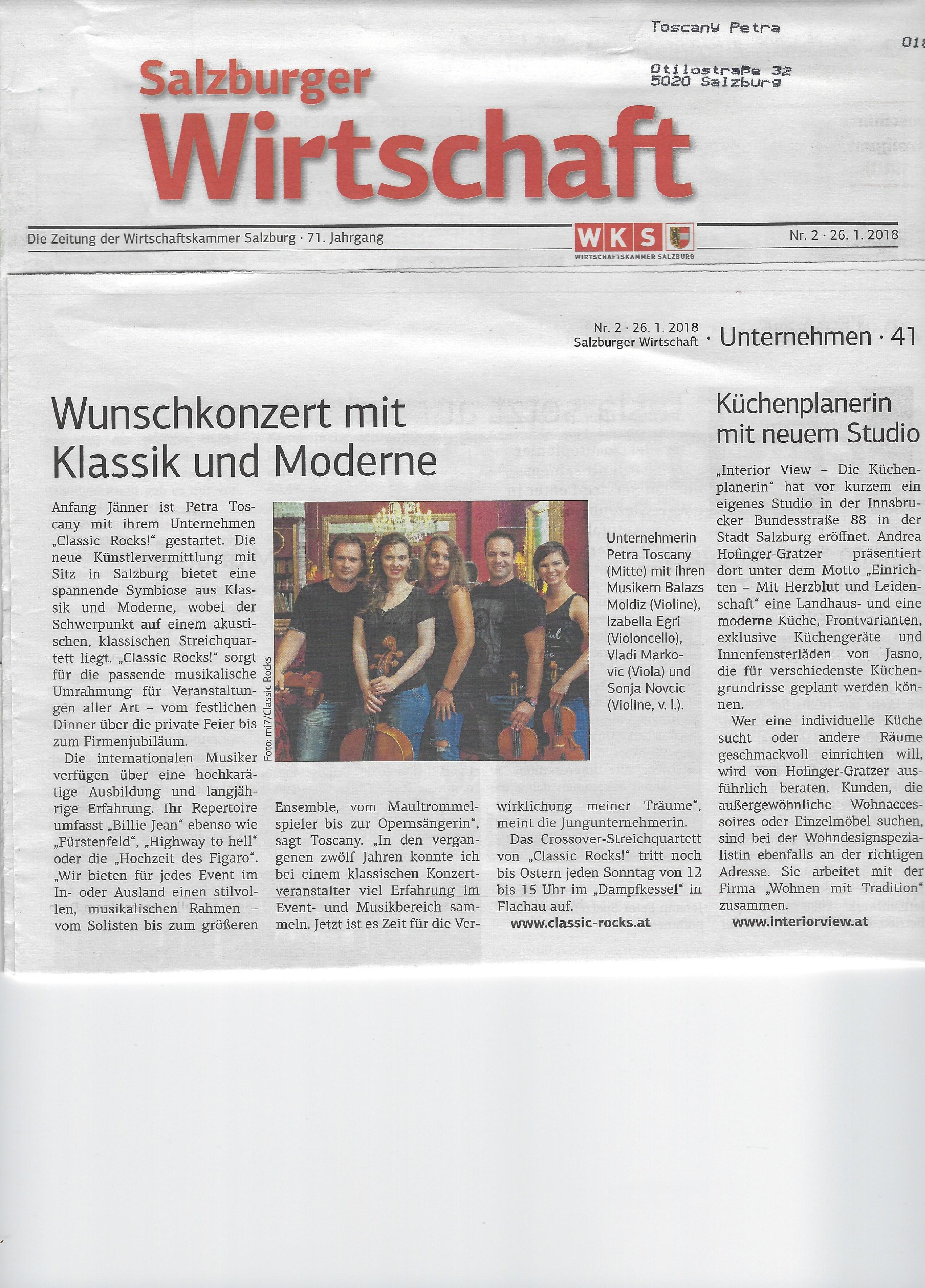 Salzburger Wirtschaft, 26.01.2018